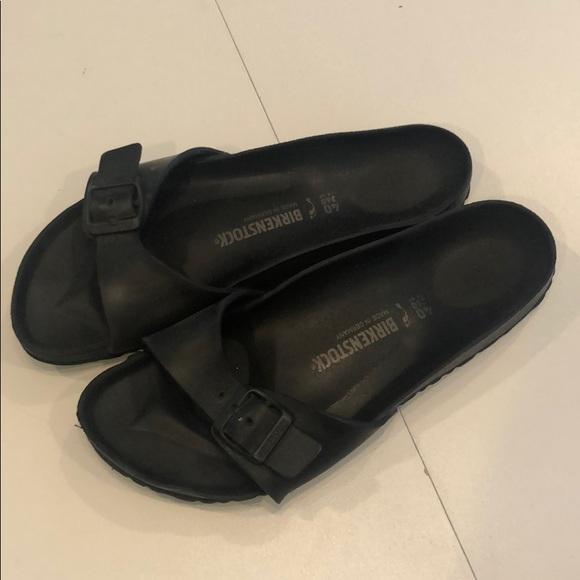 womens black rubber birkenstocks